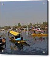 Cartoon - Multiple Number Of Shikaras On The Water Of The Dal Lake In Srinagar Acrylic Print