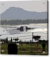 Cartoon - Shalimar Garden - The Dal Lake And Mountains In The Background In Srinagar Acrylic Print