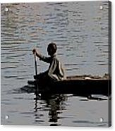 Cartoon - Splashing In The Water Caused Due To Kashmiri Man Rowing A Small Boat Acrylic Print