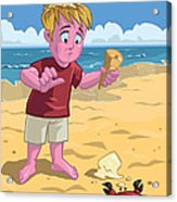 Cartoon Boy With Crab On Beach Acrylic Print