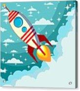 Cartoon Rocket Taking Off Against The Acrylic Print