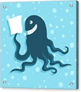 Cartoon Smiling Octopus With Paper In Acrylic Print