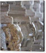 Carved Elephant Sculpture On Columns Acrylic Print