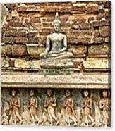 Carved Figures At Wat Mahathat In 13th Century Sukhothai Histori Acrylic Print