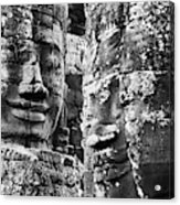 Carved Stone Faces In The Khmer Temple Acrylic Print