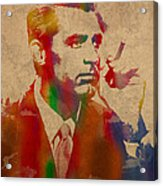 Cary Grant Watercolor Portrait On Worn Parchment Acrylic Print