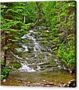 Cascade Over Mossy Rocks Along La Chute Trail In Forillon Np-qc Acrylic Print