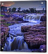 Cascading Waterfalls At Sunset Acrylic Print