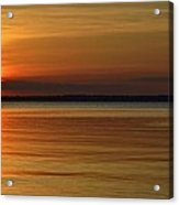 Cast Away - Young Child Fishing From A Pier On The Indian River Bay As The Sun Sets Across The Water Acrylic Print