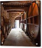 Castelle Di Amorosa Barrel Room Acrylic Print by Scott Campbell