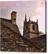 Sunset At Castle Comb Church - Wilshire England Acrylic Print