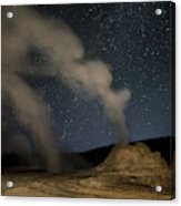 Castle Geyser With Milky Way In Lower Acrylic Print