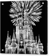 Castle With Fireworks In Black And White Walt Disney World Acrylic Print