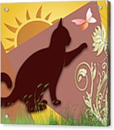 Cat And Butterfly Acrylic Print