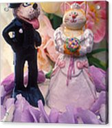 Cat And Dog Bride And Groom Acrylic Print by Garry Gay