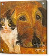 Cat And Dog Original Oil Painting  Acrylic Print