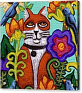 Cat And Four Birds Acrylic Print