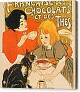 Cat Enjoys Chocolates And Tea Acrylic Print
