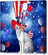 Cat In Patriotic Hat Acrylic Print