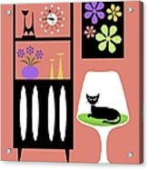 Cat In Pink Room Acrylic Print
