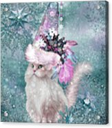 Cat In Snowflake Hat Acrylic Print
