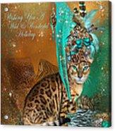 Cat In The Leopard Trim Santa Hat Acrylic Print