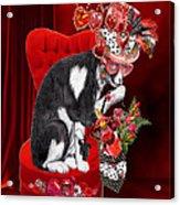 Cat In The Valentine Steam Punk Hat Acrylic Print
