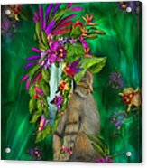Cat In Tropical Dreams Hat Acrylic Print