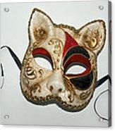 Cat Masquerade Mask On White Acrylic Print