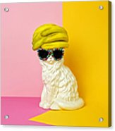 Cat Wearing Sunglasses And Banana Wighat Acrylic Print