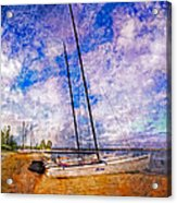 Catamarans At The Lake Acrylic Print by Debra and Dave Vanderlaan