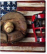 Catchers Glove On American Flag Acrylic Print by Garry Gay