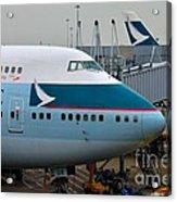 Cathay Pacific 747 Jumbo Jet Parked At Hong Kong Airport Acrylic Print
