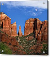Cathedral Rock Moon Rise Color Acrylic Print by Dave Dilli