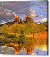 Cathedral Rock Reflected In Oak Creek Acrylic Print by Tim Fitzharris