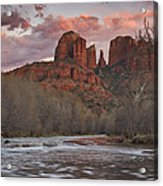 Cathedral Rock Sunset Acrylic Print by Paul Riedinger