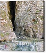 Cave Entrance And Mossy Waterfall At Indian Run 1 Acrylic Print