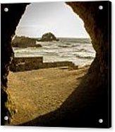 Cave View Of Rocks Near San Francisco Ca Cliff House Acrylic Print