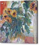 Sale - Sunflowers In Window Light - Original Impressionist - Large Oil Painting Acrylic Print
