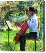 Cellist In The Garden Acrylic Print