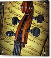 Cello Scroll With Sheet Music Acrylic Print