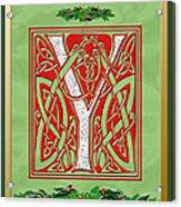 Celtic Christmas Initial Y Acrylic Print