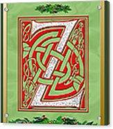 Celtic Christmas Initial Z Acrylic Print