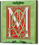 Celtic Christmas M Initial Acrylic Print