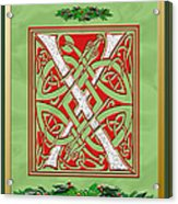 Celtic Christmas X Initial Acrylic Print