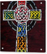 Celtic Cross License Plate Art Recycled Mosaic On Wood Board Acrylic Print