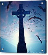 Celtic Cross With Swarm Of Bats Acrylic Print