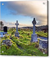 Celtic Crosses In An Old Irish Cemetery Acrylic Print by Mark E Tisdale