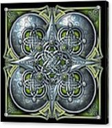 Celtic Hearts - Green And Silver Acrylic Print