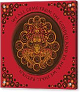 Celtic Pagan Fertility Goddess In Red Acrylic Print